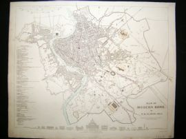 SDUK 1830's Antique Map. City Plan of Modern Rome. Italy